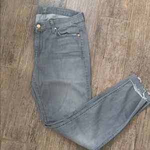 7 for all mankind mid rise skinny, grey Jeans, 31.